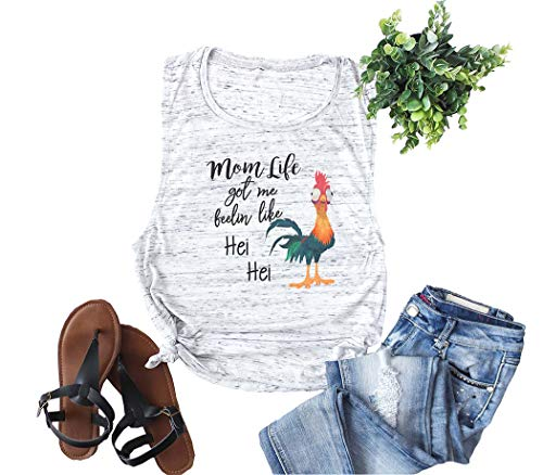 Women Mom Life Got Me Feelin Like HEI HEI Tank Tops Sleeveless Letters Print Disney Graphic Vest Tees (Grey, L)