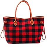 Mright Handbags for Women Tote Shoulder Bags Red and Black Buffalo Check Soft Flannel Pu Handle Purse with Polyester Lining (Red Black)
