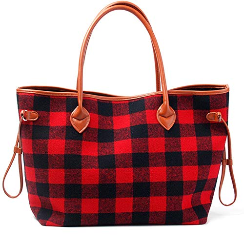 Plaid Handbag Purse - Mright Handbags for Women Tote Shoulder Bags Red and Black Buffalo Check Soft Flannel Pu Handle Purse with Polyester Lining (Red Black)