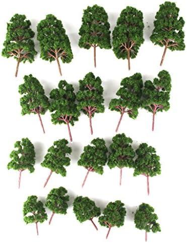 【ノーブランド品】鉄道模型 箱庭用 プラスチック製 ストラクチャー 鉄道 風景 杉 松 12cm 10cm 8cm  6cm ミックス (ディープグリーン) 20本