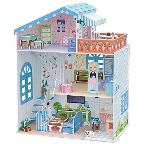 CubicFun Dollhouse Kits with Furniture,Kids House 3D Puzzle - Import It All