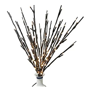 BABALI Lighted Artificial Branches 20 Inches 48 Led Battery Operated Brown Wrapped Willow Lighting Twig Branch Lights Warm White Crafts with Timer 5