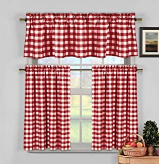 Wine Red White Gingham Checkered Plaid Kitchen Tier Curtain Valance Set Duck River