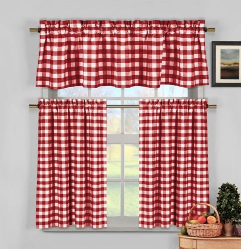 Red White Gingham Checkered Plaid Kitchen Tier Curtain Valance Set Duck River