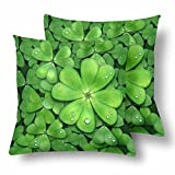 InterestPrint Irish St. Patrick's Day Shamrock Pillow Cushion Case Cover 18x18 Twin Sides, Green Lucky Clover Polyester Zippered Throw Pillowcase Protector Decorative, Set of 2