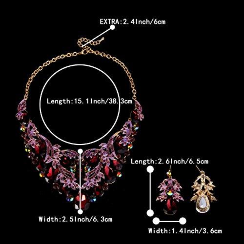Clearine Women's Bohemian Boho Teardrop Filigree Leaf Hollow Statement Necklace Dangle Earrings Set 8LRn06Dnu
