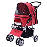 Cheap Giantex Four Wheel Pet Stroller Cat & Dog Folding Cart Carrier Jogger Travel (Red)