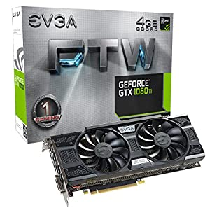 EVGA GeForce GTX 1050 Ti FTW Gaming Graphic Cards ACX 3.0, 4GB GDDR5, DX12 OSD Support (PXOC) Graphics Card 04G-P4-6258-KR