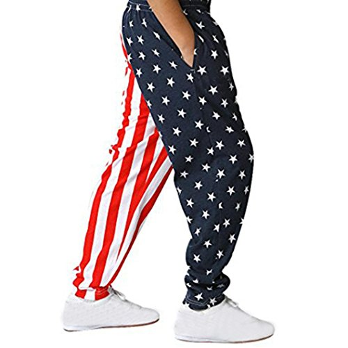 Franterd Baby Shirt 4th Of July Pants - America Flag Casual Baggy Pants Star Striped Trousers Clothes for Big Boys Girls (8T, Red) ()