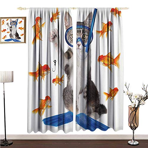 Light Luxury high-end Curtains Cat Lover Decor Collection Modern Spin on The Term Fishing Curiosity Goldfish Hunting Humorous Funny Art W108 xL108 Breathability