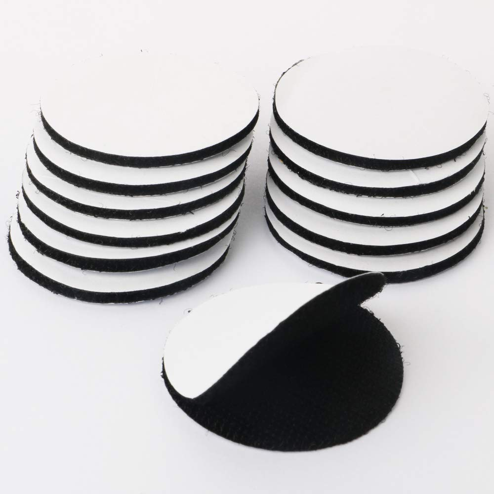 TOOHUI 12 Pares Hook y Loop Bandas, Extra Fuerte Doble Cara Cinta de Velcro Autoadhesivos para Hogar Oficina Industria, Negro(Redondo, 5cm x 5cm)