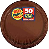 Amscan AMI 650013.111 Amscan Chocolate Brown Big Party Pack Dinner Plates (50 Count), 1, brown