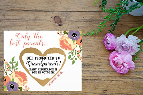Scratch Off Only the best parents get promoted to Grandparents Card with Metallic Envelope. Pregnancy announcement, we're pregnant, we're expecting, grandparents to be, you're going to be grandparents (The Best Parents Get Promoted To Grandparents Card)