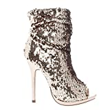 Liliana Maxim-12 Multi Color Sequins Peep Toe High Heel Above Ankle Bootie,Rosegold,7