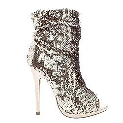 Multi Color Sequins Peep Toe High Heels