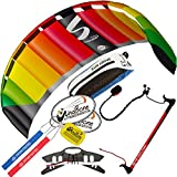 HQ Symphony Pro 2.5 Kite Rainbow w Control Bar Bundle (4 Items) + Peter Lynn 2-Line Control Bar w Safety Leash + WindBone Kiteboarding Lifestyle Stickers + WBK Key Chain - Kiteboarding Trainer Kit