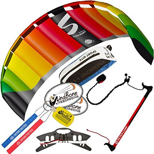 HQ Symphony Pro 2.5 Kite Rainbow w Control Bar Bundle (4 Items) + Peter Lynn 2-Line Control Bar w Safety Leash + WindBone Kiteboarding Lifestyle Stickers + WBK Key Chain - Kiteboarding Trainer Kit by HQ Power Kites, Peter Lynn, WindBone