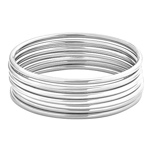 Edforce Stainless Steel Glossy Thin Round Bangle Bracelet Set for Women, Set of 7, 7.8