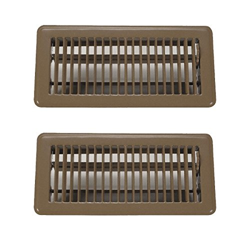 "Rocky Mountain Goods 4"" x 10"" Floor Vents 2 Pack - Heavy Duty Walkable floor register - Premium Finish - Easy adjust air supply lever (Brown)"