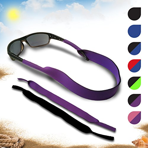 Glasses and Sunglasses Active Strap - 2 Pack | Anti-Slip and Fast Drying Sport Glasses Strap | COLORS (Purple + (Neoprene Sunglass Strap)