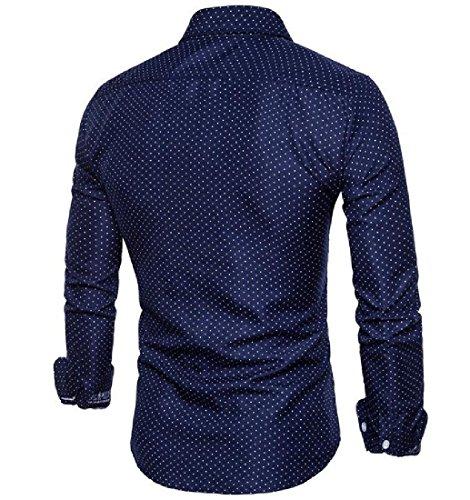 Doufine Men's All-Match Pocket Autumn Floral Long Sleeve Polka Dot Shirts Navy Blue XL by DoufineMen (Image #1)