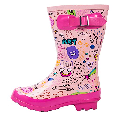 AMAWEI Kids Rain Boots Boys Girls Baby/Toddler/Little Kids/Big Kids Rubber Garden Shoes (3, Pink Graffiti)