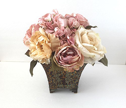 Silk Flower centerpiece in metal urn, Valentine Roses arrangement, Mother's Day flowers, birthday flowers