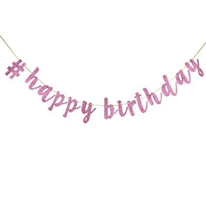 Amazon INNORU Happy Birthday Banner Pink Glitter Decorations Supplies