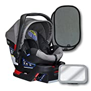 Britax B-Safe 35 Infant Car Seat, Steel, Back Seat Mirror, and 2 EZ-Cling Window Sun Shades