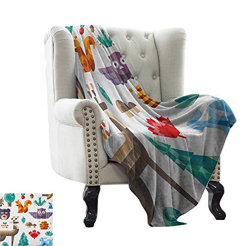 warmfamily Kids,Lightweight Blanket,Cute Cheerful Poly Art Style Animals Owl Bear Bunny Apple Dear Nursery Baby Design 60