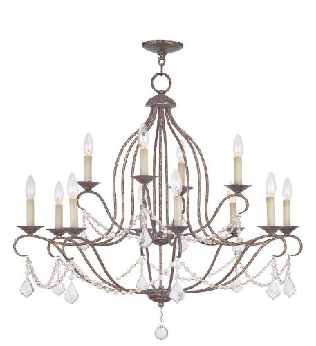 (Chandeliers 12 Light with Hand Applied Venetian Golden Bronze Size 34 in 480 Watts - World of Crystal)