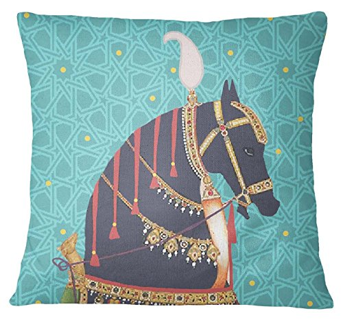 S4Sassy Multicolor Decorative Mughal Horse Print Square Cushion Cover Pillow Case -24 x 24 - Mughal Throw