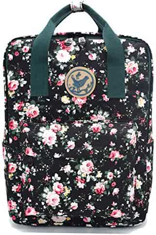 f8e5d2e02b Micoop Waterproof Floral Backpack Handbag Travel School Bag for Girls and  Women (Black L)