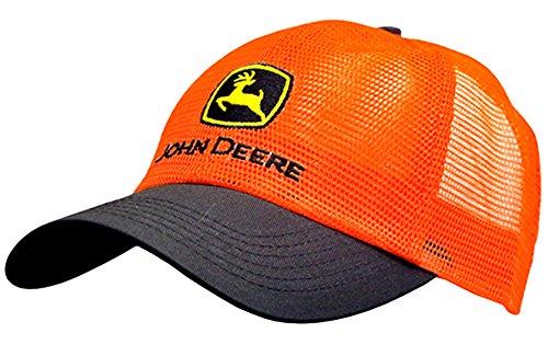 John Deere Men's Hi Vis Mesh Trucker Hat Orange