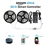 #8: WenTop Wifi Wireless Smart Phone Controlled Led Strip Light Kit with DC12V UL Listed Power Supply Non Waterproof SMD 5050 32.8Ft(10M) 300leds RGB Timer LED Tape Lights Work with Android, IOS and Alexa