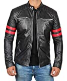 Black Quilted Leather Jacket Men with Red Stripe | Hunter, S