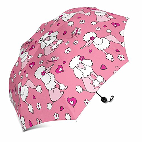 InterestPrint Dog Poodle Gray Pink Foldable Portable Outdoor Travel Compact Umbrella (43 Inch)