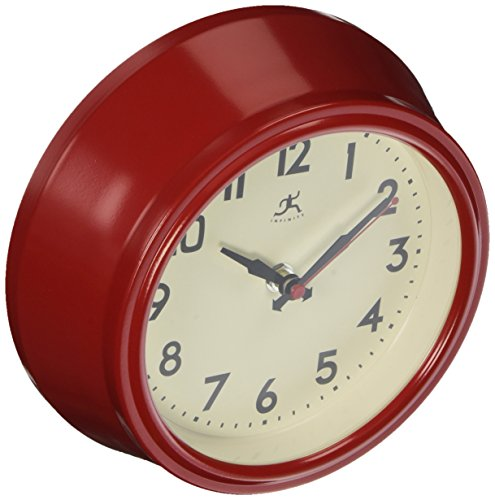 "Infinity Instruments 8"" Retro Diner Red Silent Wall Clock"