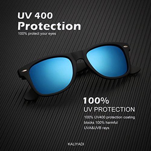 Mens Wayfarer Polarized Sunglasses Vintage Refective Mirror Lens Sun Glasses Womens:UV400 Protection (2 pairs) by KALIYADI (Image #2)