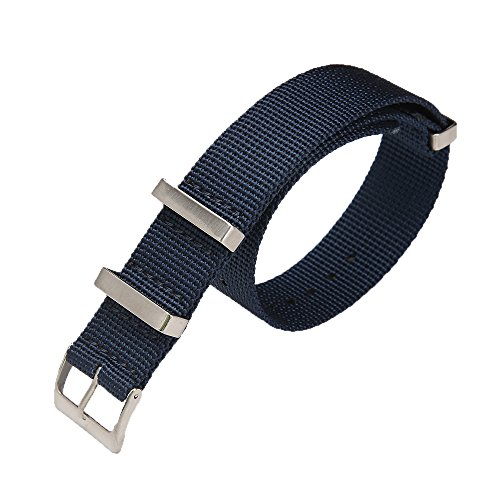 Carty High-Density Nylon Nato Strap Replacement Watch Bands 22mm Blue Sport Band