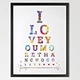 i love you more than chocolate - Dignovel Studios 8X10 Eye chart I love you more than chocolate watercolor Art Print Typography print Quote poster Home Decor Birthday Gift Inspirational art N144