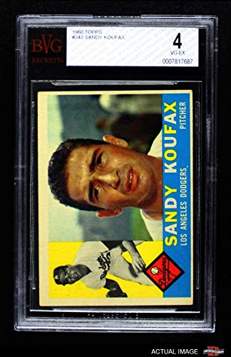 1960 Topps # 343 Sandy Koufax Los Angeles Dodgers (Baseball Card) BSG 4 - VG/EX Dodgers