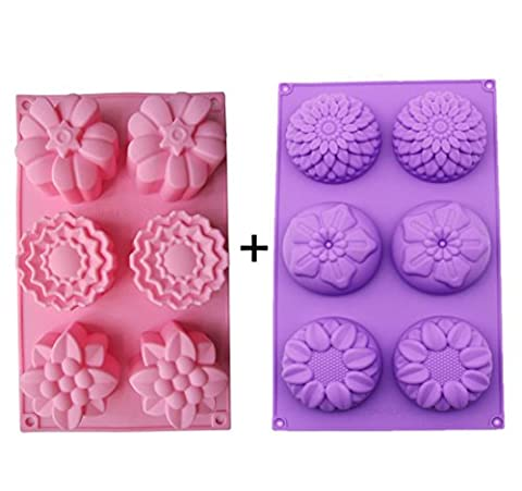 Kakasogo 2 PCS 6 Cavity Assorted Flower Shapes Silicone Soap Mold forHandmade DIY Cake Chocolate Cupcake Biscuit Bath Bomb Bread Muffin CandleIce Cube Making Mould Tool Set(Pink and - Flower Silicone Candle