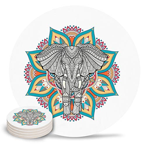 Absorbent Coasters for Drinks Bohemian Style Elephant Pattern Ceramic Stone with Cork Base Set of 4 No Holder, Use as Home Decor and Protect Your Furniture from Water Stains, Marks And Scratches -