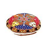 Rajrang Designer Round Brown Ottoman Cotton Floral Embroidered Pouf Cover By Rajrang