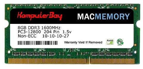Komputerbay MACMEMORY 8GB PC3-12800 1600MHz SODIMM 204-Pin Laptop Memory 10-10-10-27