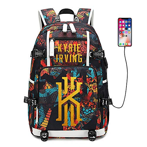 Basketball Player Star Irving Multifunction Backpack Travel Student Backpack Fans Bookbag for Men Women (Style 2)