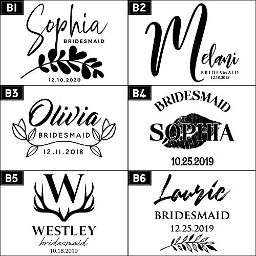 Set of 6, Personalized Bridal Party Gifts For Bridesmaids, 6 Different Designs & 2 Optional Gift Boxes, Personalized Flask Bridesmaid Gifts, Wedding Favor, 6 oz Customized Stainless Steel Hip Flasks by Be Burgundy (Image #1)