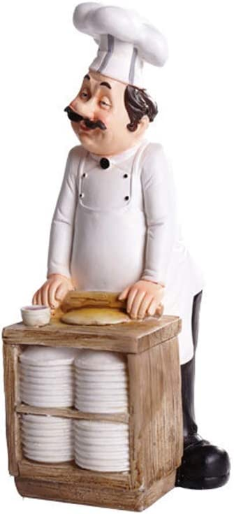 SMANTA Making Bread Decorative French Chef Figurine - Resin Home Countertop Table Decoration for Country Cottage Decor & Gourmet Kitchen Decorations