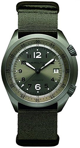 - Hamilton Men's 'Khaki Aviation' Swiss Automatic Stainless Steel and Canvas Dress Watch, Color:Green (Model: H80405865)